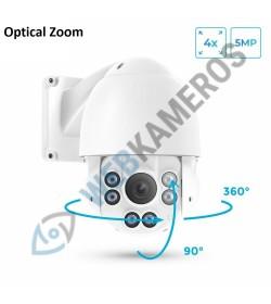 IP lauko kamera 5MP sukinėjama 360 su optiniu objektyvu Micro sd